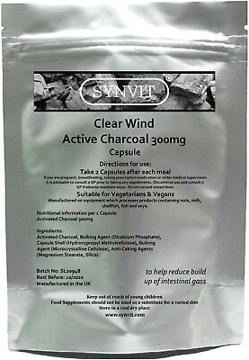 Active Charcoal Capsules 300mg Detox | Toxins Bloating
