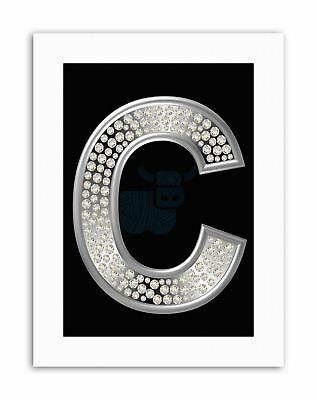 DIAMOND CHARACTER C ALPHABET BLING SILVER Poster Picture Canvas art Prints