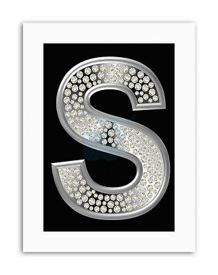 DIAMOND CHARACTER S ALPHABET SILVER BLING Poster Picture Canvas art Prints