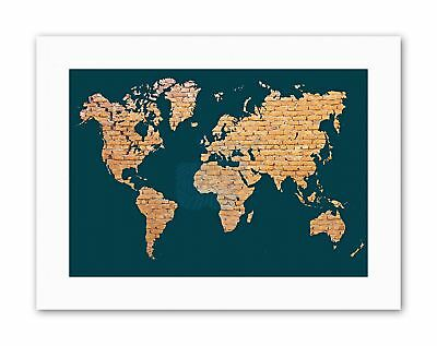 WORLD MAP CONTINENTS MADE BRICK PHOTO Poster Picture Canvas art Prints