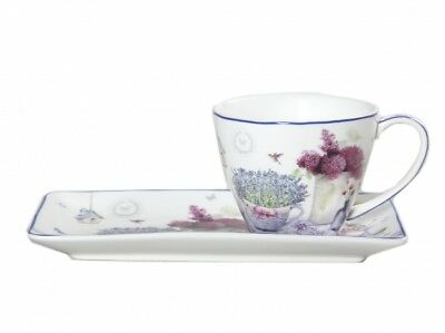 New Spring Lavender Breakfast cup and saucer Fine Bone China Birthday Xmas Gift