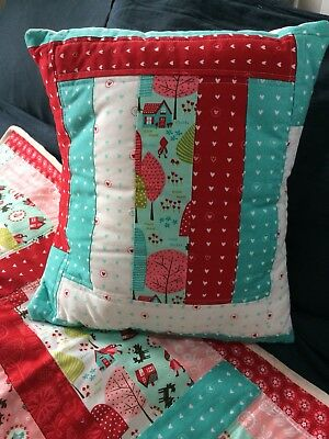 Handmade Retro child's Baby patchwork Quilt and Cushion