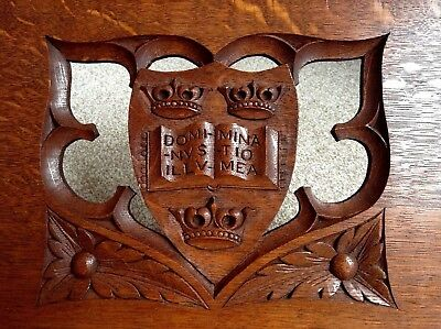 Oak Gothic Heraldic Folding book stand by Rogers, Oxford Early 20th Cent