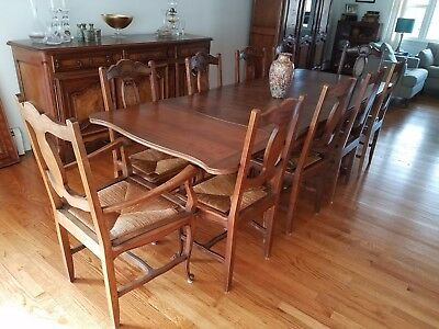 Antique French Dining Set - Table, Chairs, Hutch & Buffet - 13 Pieces!