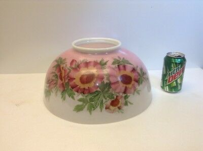 """Antique Victorian 14"""" Hanging Lamp Shade Hand Painted Flowers Floral Milk Glass"""