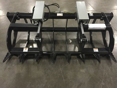 """78"""" Two Cylinder Brush grapple Skid steer Bobcat HD Quick Attach 6' 6"""""""