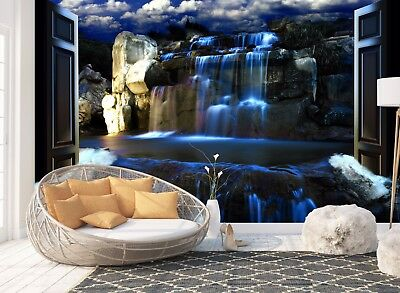 Wall Mural Photo Wallpaper Picture EASY-INSTALL Fleece Waterfall Blue Lights New