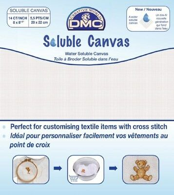 PACK OF DMC 14 COUNT SOLUBLE CANVAS 8 x 8½ Inch (20 x 22cm) *TRANSPARENT* (DC90)