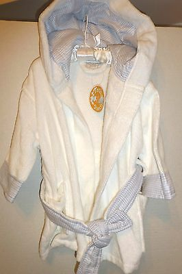 Baby Boy Plush Terry Wrap Robe With Hood By Stephan Baby. Fits Up To 12 Mo., NWT