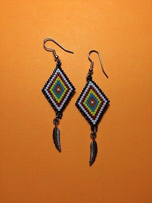 Native American Indian Brickstitch Peyote Beaded Earrings Feather Changing Color