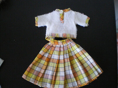 Sindy Lovely Lively outfit, yellow white top + skirt 1975 vintage doll clothes