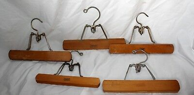 Vintage Lot 9 Setwell Heavy Duty Metal Wooden Pants Clothes Hangers!