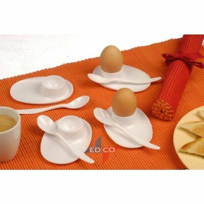 Set Of 4 Boiled Egg Cup And Spoon White Plastic Holder Travel Camping Caravan