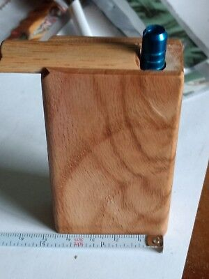 "Handmade in the USA Red oak dugout with  2"".metal cigarette pipe forTobacco"