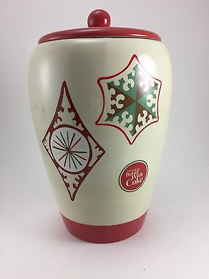 """COLLECTIBLE COCA-COLA CHRISTMAS COOKIE JAR TAN AND RED  9 1/2"""" TALL 1990s"""