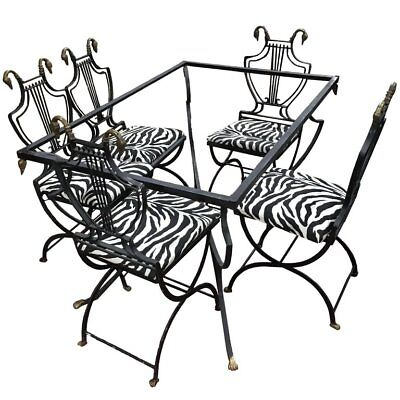Art Deco Italian Wrought Iron Lyre Swan Back Set 5 Dining Chairs and Table