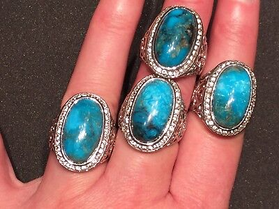 Genuine 10 CT Kingman Turquoise & White Zircon Silver Statement Ring Size 8