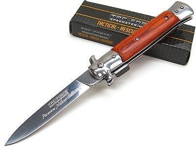 """8""""spring Assisted Opening Knife/canada Traditional Italian Style Wood Handle"""