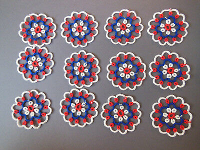 """Lot Of 12 Tatted Small Doilies - 2-1/2"""" Round"""
