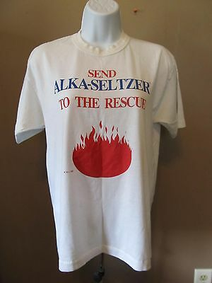 Vintage Send Alka-Seltzer To The Rescue T-Shirt Size L~Miles Lab Promo~1986~EUC!