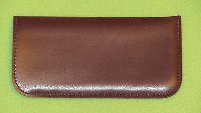 Dark brown glasses case, soft spectacle, pouch, leather look, large, gift (H3)