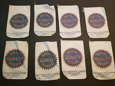 8 Vintage Royal Quality Seeds bags- Rudy Patrick Seed Co. Kansas City Station A