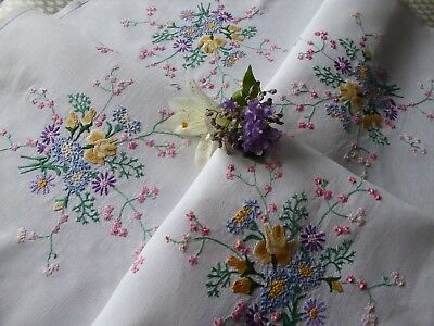 Vintage Hand Embroidered Tablecloth - Beautiful  Embroidery- So Delicate