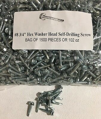 (1500) #8 X 3/4 Indented Hex Washer Head Self Drilling Tek Screw 1500 Screws!!