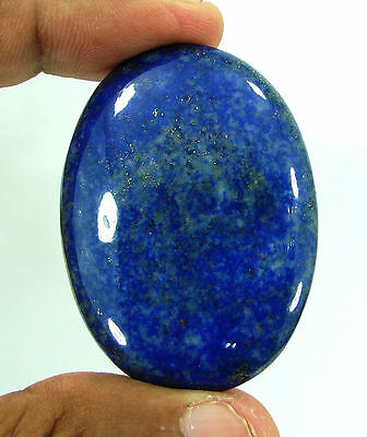 107.10 Ct Natural Oval Cab Blue Lapis Lazuli Gold Flakes Loose Gemstone - 9397