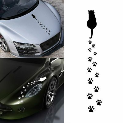 Waterproof Vinyl Cartoon Car Stickers Windows Decal Cute Cat Footprints