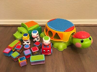 Fisher Price Build n Spill Musical Turtle & Crocodile with bristle blocks