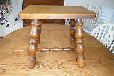 French Vintage Heavy Wood rectagular Stool - 4 Legs - Good Quality