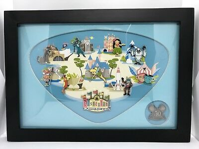Disneyland Retro 50th Anniversary Map framed 11 pin set.