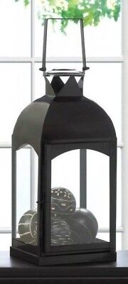 Pair of 2 Large Arch Domed Black Metal Decorative Candle Lantern Indoor Garden