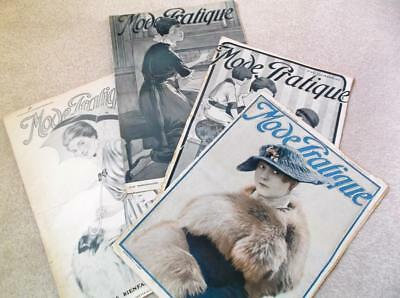 Lot of 4 French 1915 WW1 sewing clothes vintage 1900s Edwardian magazines