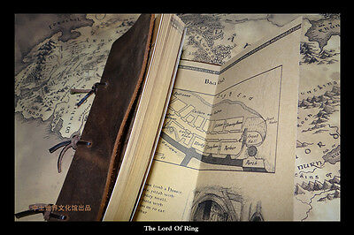 Lord of The Rings The Hobbit Middle Earth Map Poetry Collection Leather Notebook