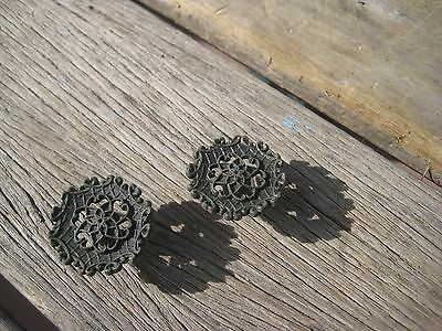 "Vintage **1 1/4"" Diameter** Ornate Brass Drawer Cabinet Knob Pull Set of 2 JAPAN"