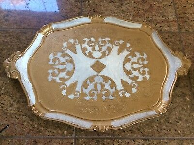 Vintage Florentine Italian TRAY Tole Shabby Chic Italy 20 x 13.5 gold white