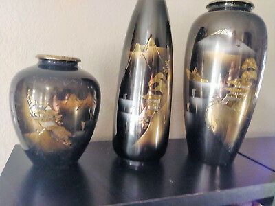 Set of 3 Antique Japanese Mixed Metal Etched Vases With Silver Inlay