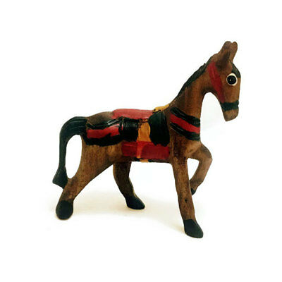 """Hand Carved Small Wooden Mini Horse, 4"""" tall, Home and Office Decoration"""