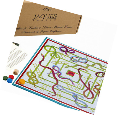 Snakes & Ladders - Luxury Linen Finish Snakes and Ladders Board Game with Wooden