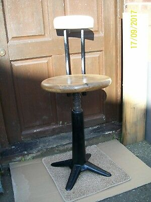 Singer cast base round seat machinists chair sprung backrest x Norvic Norwich