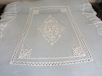 Victorian Antique French Filet /tambour -Princess Tape Lace Bed Cover /coverlet!