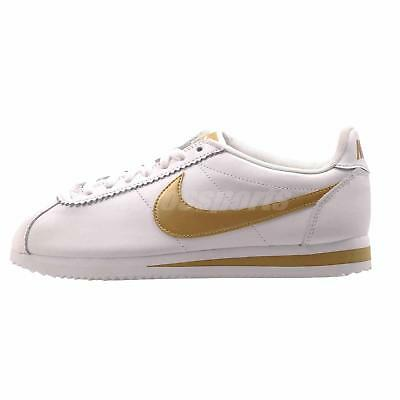 Nike Wmns Classic Cortez Leather Casual Shoes White Gold 807471-106