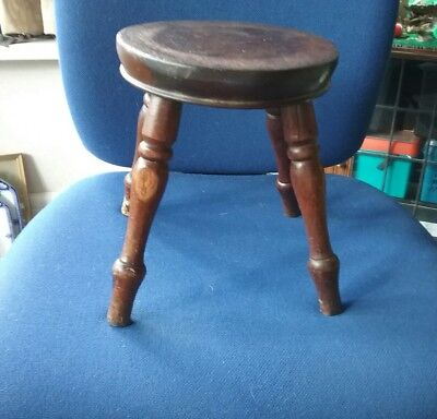 Beautiful Antique Oak Stool. Milking Stool?