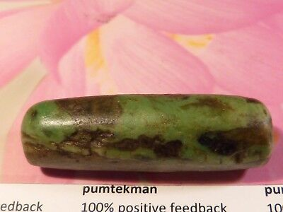 Large Ancient Pre-Columbian Mesoamerican Green Jade Necklace Bead 46 By 14.5 Mm