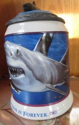 Great White Shark Beer Stein Anheuser-Busch & Sea World numbered collectible EUC