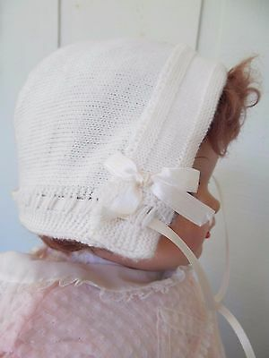 Vintage Baby / Doll Bonnet - White Fine Gauge Knit & Satin - So Cute!