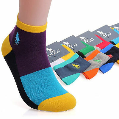 5 Pairs Men's HJC polo sport Crew Quarter Combed Cotton Ankle Casual Socks