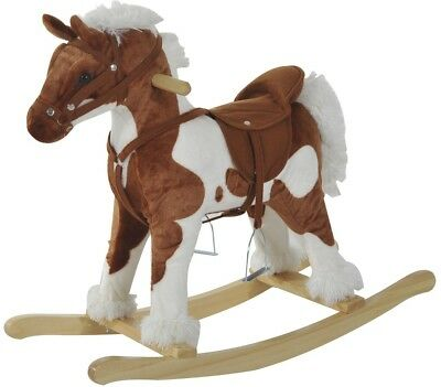 Children Rocking Plush Ride On Horse Wooden Pony Toy Kids Paly Rocker With Sound